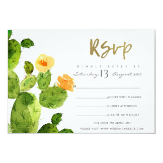 GREEN WATERCOLOUR DESERT CACTUS FLOWER  RSVP CARD