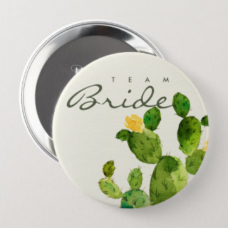 GREEN WATERCOLOUR DESERT CACTUS FLOWER  TEAM BRIDE PINBACK BUTTON