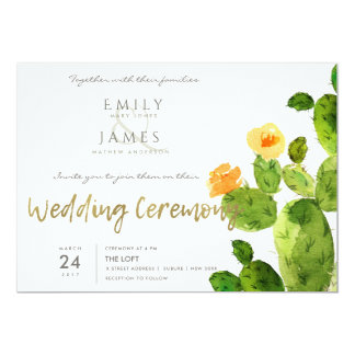 GREEN WATERCOLOUR DESERT CACTUS FLOWER  WEDDING CARD