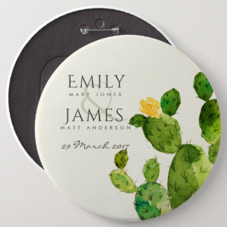 GREEN WATERCOLOUR DESERT CACTUS FLOWER  WEDDING PINBACK BUTTON