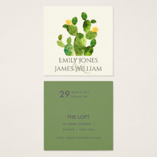 GREEN WATERCOLOUR DESERT CACTUS FLOWER  WEDDING SQUARE BUSINESS CARD