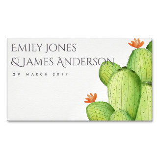 GREEN WATERCOLOUR DESERT CACTUS SAVE THE DATE BUSINESS CARD MAGNET
