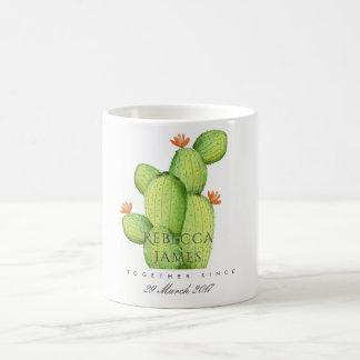 GREEN WATERCOLOUR DESERT CACTUS SAVE THE DATE GIFT COFFEE MUG