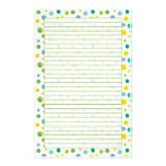 Green Watercolour Polka Dots Lined Stationery