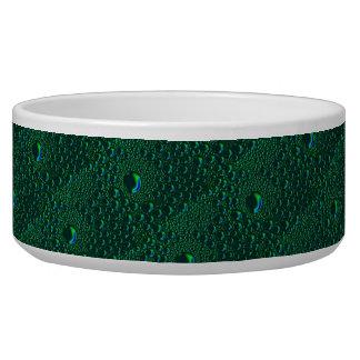 green waterdrops artdeco pattern pet bowls