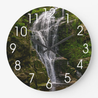 Green Waterfall Landscape Photo Large Clock