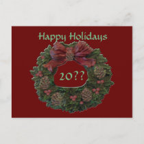 Green Waterloo Wreath Holiday Postcard