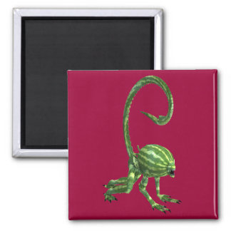 Green Watermelon Extraterrestrial Species 2 Inch Square Magnet