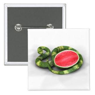 Green Watermelon Snake Pinback Button
