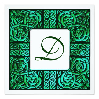 Green Waters Celtic Monogram Wedding Invitation