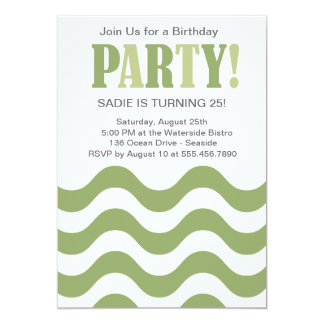 Green Wave Party Invitation