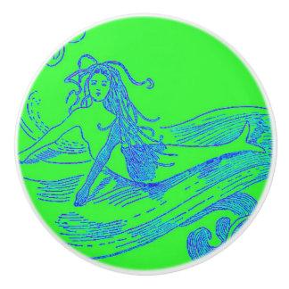 green waveriding mermaid ceramic knob