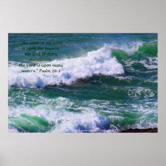 Green Waves Print w/Scripture Verse