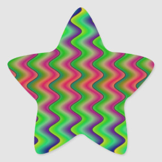Green Waves Star Stickers