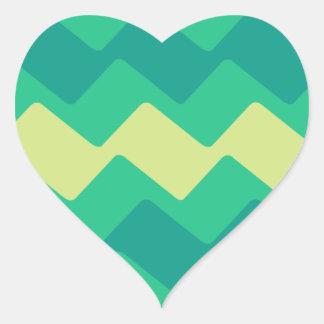 Green Wavy Chevrons Heart Sticker