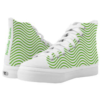 Green Wavy Lines You Choose the Background Color High-Top Sneakers