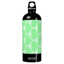 Green Wavy Pattern Water Bottle