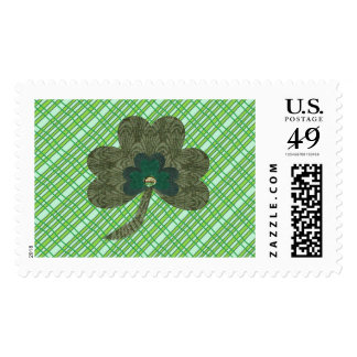 Green Weave with Shamrock Postage