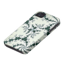 Green Webs - delicate fractal lace iPhone 4 Case-Mate Cases
