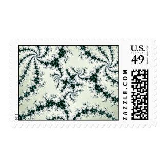 Green Webs - delicate fractal lace Postage Stamps