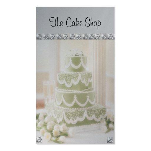 Green Wedding Cake With Diamond Business Cards