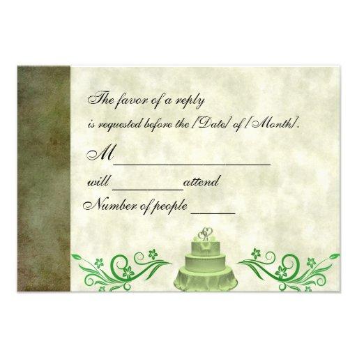 Green Wedding Custom Response Cards 35 X 5 Invitation Card