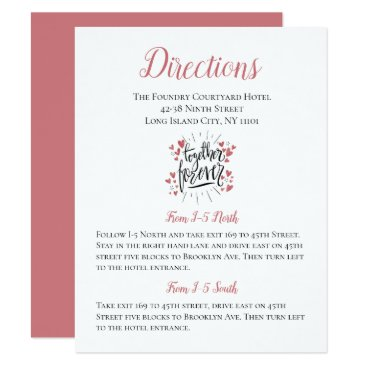Wedding Themed Green Wedding Directions Lovebirds Party Cartoon Card