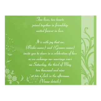 Green wedding invitation postcard