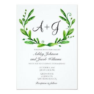 Green wedding invitation. Summer invites. Greenery Card