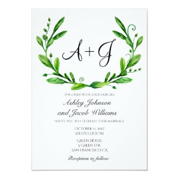 Green Wedding Invitation. Summer Invites. Greenery Card by RemioniArt at Zazzle