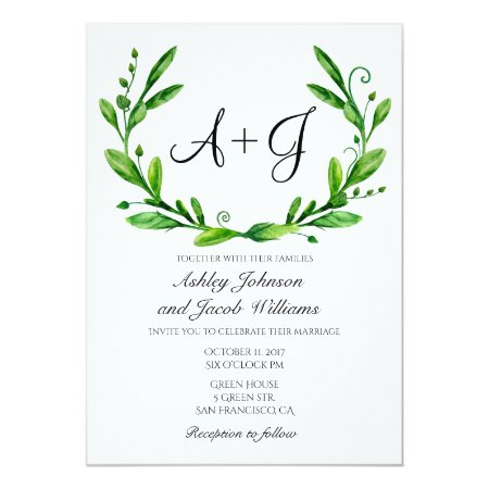 Green Wedding Invitation. Summer Invites. Greenery Card