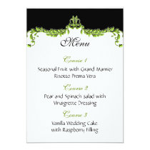 green wedding menu card