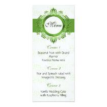 green wedding menu card