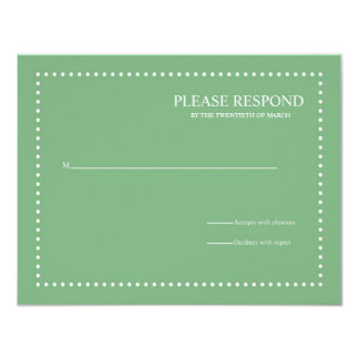 Green Wedding Response Card with Pearl Border Personalized Invitation