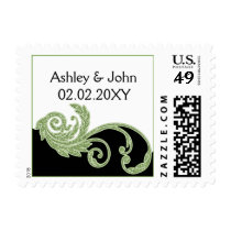 green wedding stamps