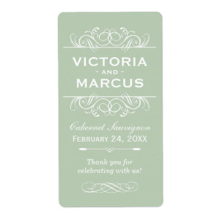 Green Wedding Wine Bottle Monogram Favor Labels