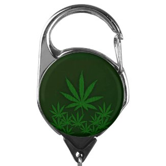 Green Weed Badge Holder