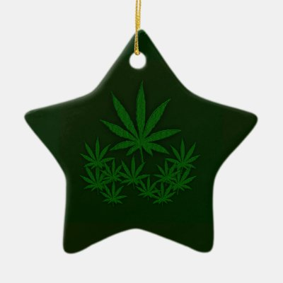 Green Weed Double-Sided Star Ceramic Christmas Ornament