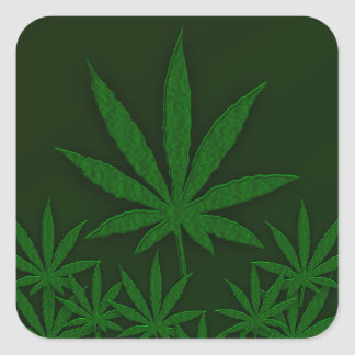 Green Weed Square Sticker
