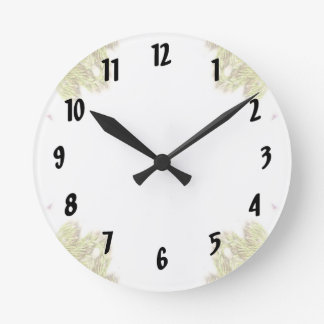 Green weeds on edges 4 up round clock