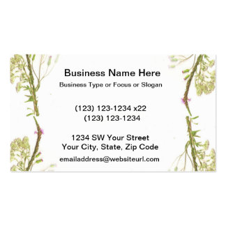 Green weeds on edges scan business card