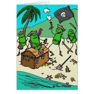 """Green Weenii """"Pirate Party"""" Note Card"""