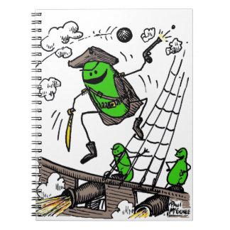 """Green Weenii """"Pirates"""" Spiral Notebook"""
