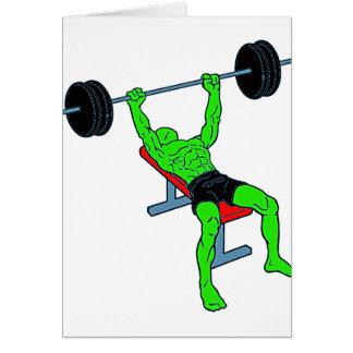 Green Weightlifter Benchpress Greeting Cards