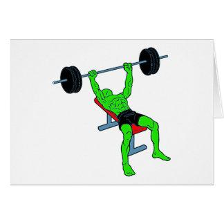 Green Weightlifter Benchpress Cards