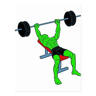 Green Weightlifter Benchpress Postcards