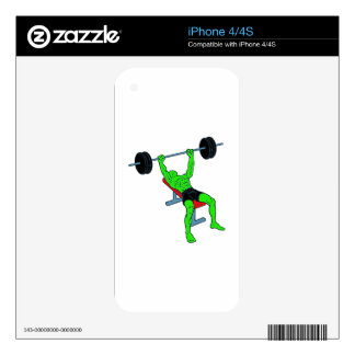 Green Weightlifter Benchpress Skin For The iPhone 4