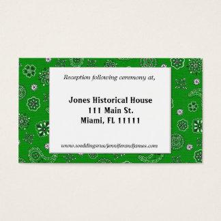 Green Western Wedding Reception Cards