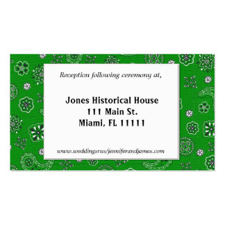 Green Western Wedding Reception Cards Business Card Template