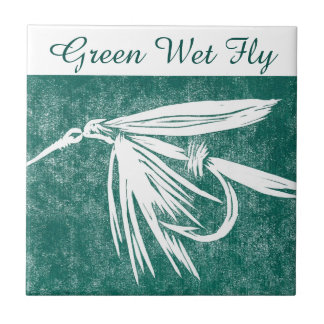 """""""Green Wet Fly"""" trout fly tile. Tile"""